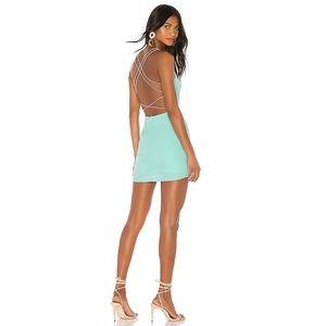 Superdown Sabina Strappy Back Mini Dress Mint